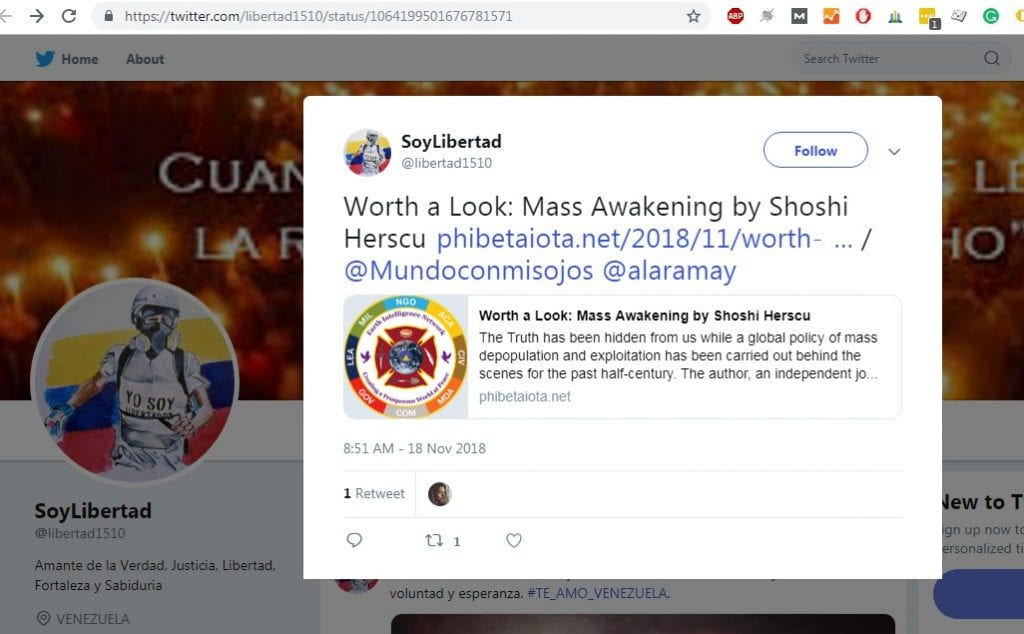 Mentioned on SoyLibertad, Twitter 18.11.18