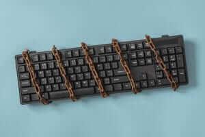 blocked keyboard symbolizing censorship online